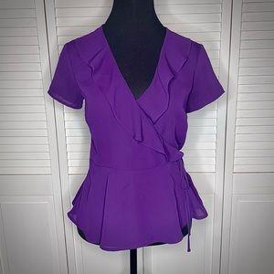 Forever 21 Purple chiffon wrap blouse MED EUC